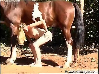 Slutty wife sucks and fucks huge horse dick