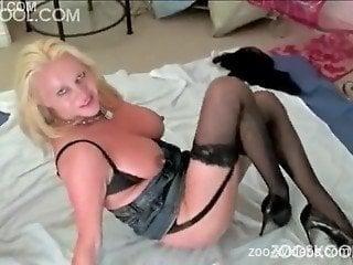 Blonde hottie spreads legs for dog in animal video