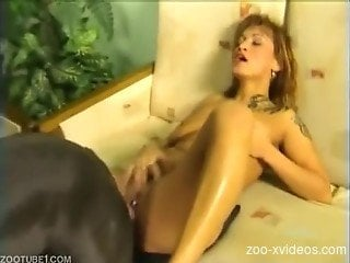 Flaming scenes of severe dog porn with a needy wife
