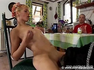 Naked females sharing dog cock and human cock