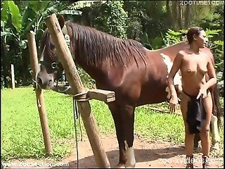 Fine ass slut loves the horse fucking her wet vagina
