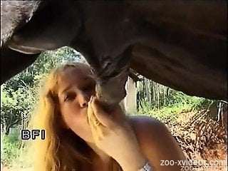 Blondie tries heavy horse cock in the mouth and pussy