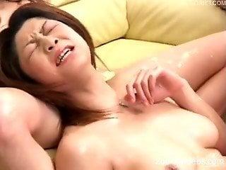 Naked Japanese hotties severe fucked in animal video
