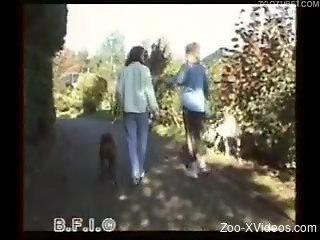 Sexy blonde babes using dog for sexual desires