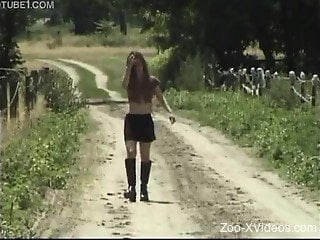 Nude girl shows off fucking with a horse on cam
