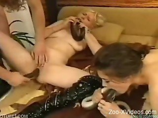 Blondes using snakes on their dirty zoophilia show