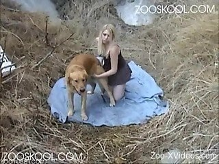 Blonde sucks a dick after nasty bestiality sex with a doggy