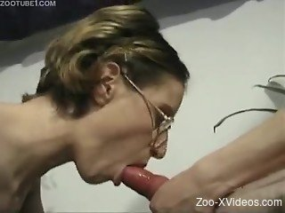 Hot-shaped secretary and her playful trained doggy