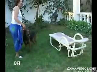 Ebony beauties have sex with rottweiler outdoors