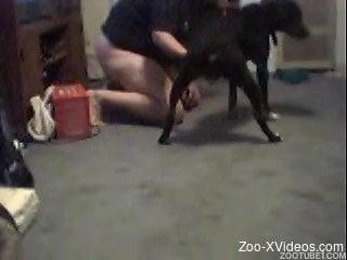 Amateur MILF trains her doggy on hidden cam