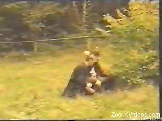 Milfs sharing dog cock in crazy home video