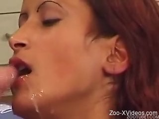 Perfect chick with nice face swallows dog cum in bestiality XXX