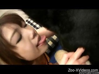 Black doggy fucks a sensual Asian hottie in Japanese animality...