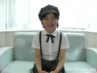 Japanese chick gets nicely drilled by her lovely black dog