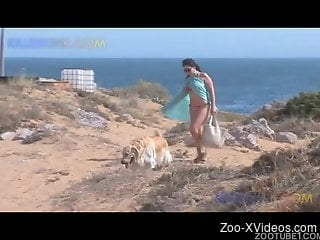 Astonishing hottie gets hardly drilled by her trained dog