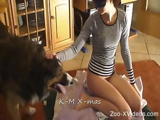 Long-legged MILF and her hairy pet make love in doggystyle