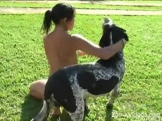Naked Latina chick has nice anal sex with dog in fresh air