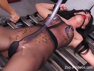 Wormy torture for a brunette zoophile in a bodysuit