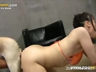 Asian babe in a bikini getting fucked by two kinky dogs