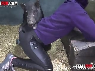 Babe in ripped pants is getting power-fucked by a pig