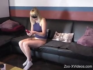 Blond-haired beauty fucked on all fours like a whore