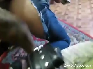 Slim zoophile MILF gets fucked in a messy room