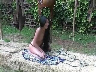 Long-legged Latina enjoying hot fucking with a horse