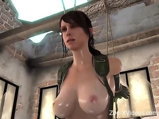 Hot animation with a busty brunette whore taking horse cock in...
