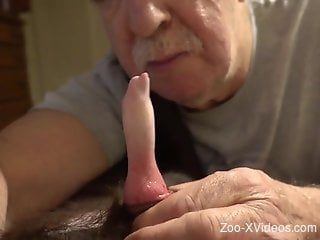 Old man with a nice-looking stache sucks on a red cock